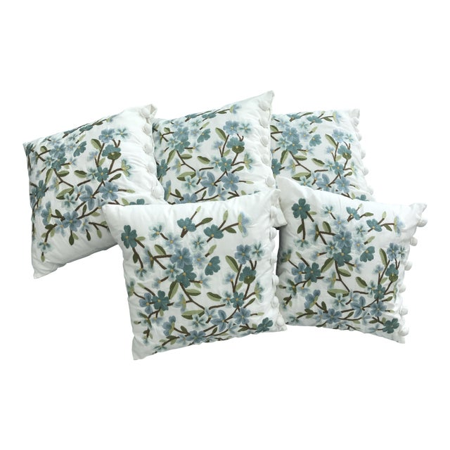 Set of 5 Floral Embroidered Throw Pillows - Image 1 of 5