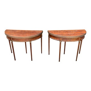 Crotch Mahogany Demilune Game Tables -A Pair For Sale