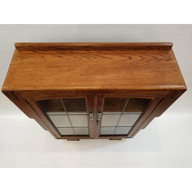 1920s English Art Deco Oak Display Cabinet / Bookcase With Glazed Doors For Sale - Image 9 of 12