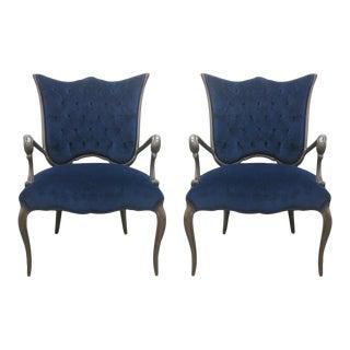 Tufted Blue Velvet Armchairs - a Pair For Sale