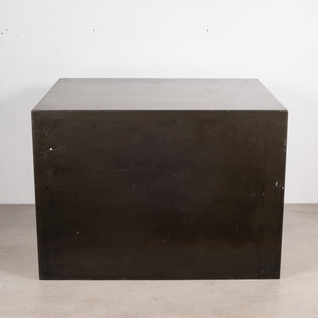 Metal Industrial Factory Two Drawer Cabinet With Brass Pulls C.1940 For Sale - Image 7 of 10