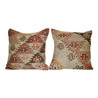 Set of Two Ethnic Turkish Square Pillow Cover, Pair Vintage Chair Decor 20'' X 20'' (50 X 50 Cm) For Sale