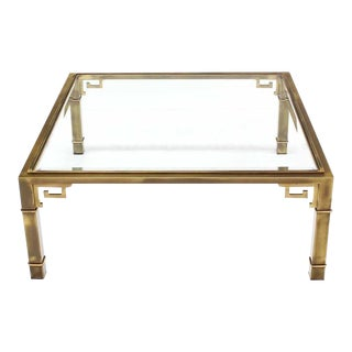 Large Square Mastercraft Greek Key Coffee Table For Sale