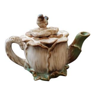 Porcelain Bird & Cabbage Tea Pot