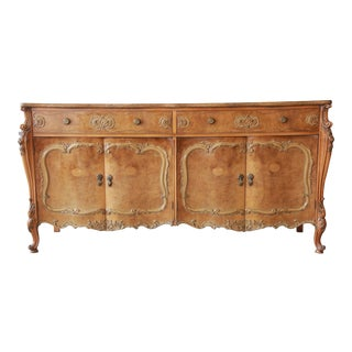 Romweber Ornate Burl Wood French Carved Sideboard Credenza For Sale