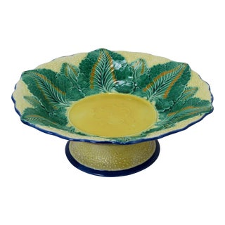 Antique Wedgwood England Victorian Majolica Serving Bowl For Sale