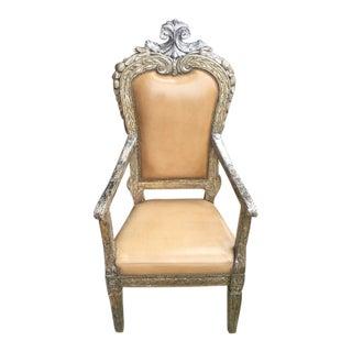 18th C Italian Silver Giltwood Arm Chair For Sale