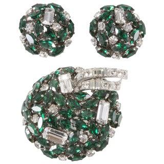 Schoeffel Emerald GreenClear Rhinestones Brooch Earrings Set Austrian Vintage For Sale