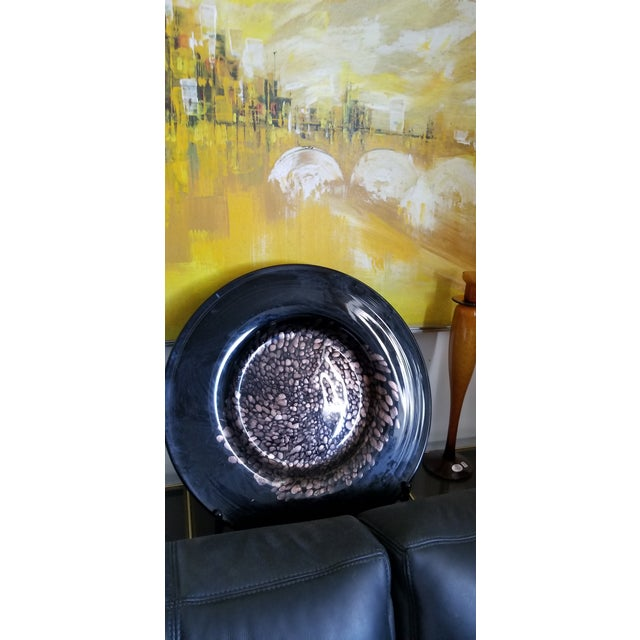 Abstract Black & Gold Murano Art Glass Plate For Sale - Image 3 of 12