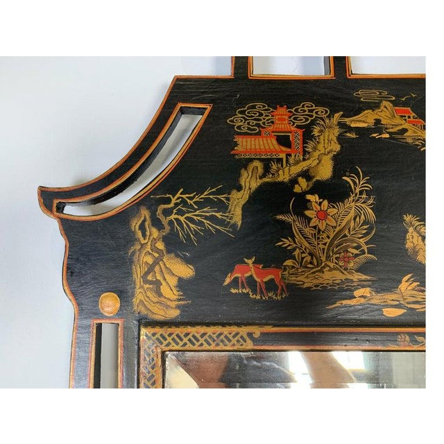 1950s Asian Style Decorative Chinoiserie Hand Painted Mirror For Sale In Philadelphia - Image 6 of 11