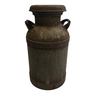 Vintage Rustic Metal Milk Can With Lid For Sale