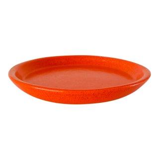 Vintage Mid Century Gainey Ceramics Speckled Orange Pot Drip Plate Saucer For Sale