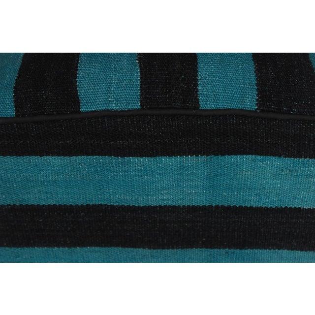 Textile Arshs Deedra Blue/Black Kilim Upholstered Handmade Ottoman For Sale - Image 7 of 8