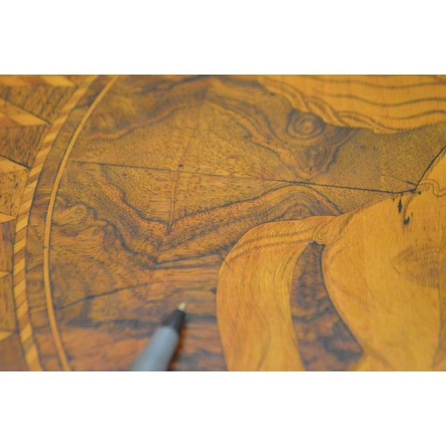 Antique Italian Walnut Marquetry Inlaid Octagon Top Pedestal Side Table - Image 10 of 10