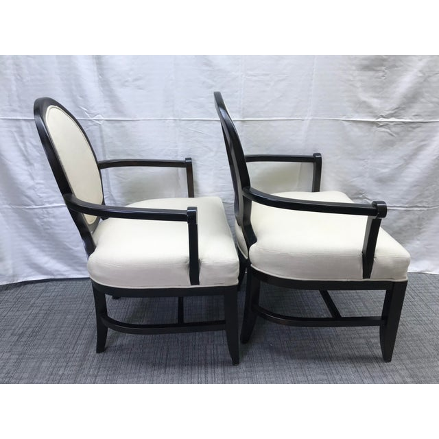 2010s Transitional Barbara Barry Cream Oval X-Back Arm Chairs - a Pair For Sale - Image 5 of 13
