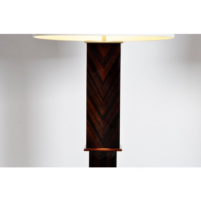 2010s Contemporary Step Base Walnut Veneer Floor Lamps - a Pair For Sale - Image 5 of 11
