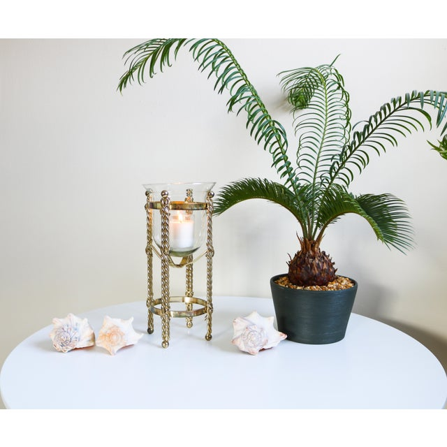 Art Deco Mid-Century Tall Brass & Glass Candleholder For Sale - Image 3 of 13