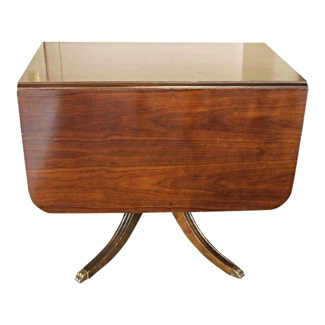 Mahogany Drop Leaf Claw Foot Table For Sale