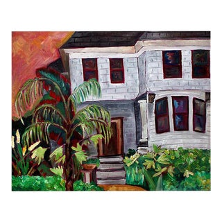 Contemporary San Francisco Victorian House Portrait Oil Painting by Ronda Williams For Sale
