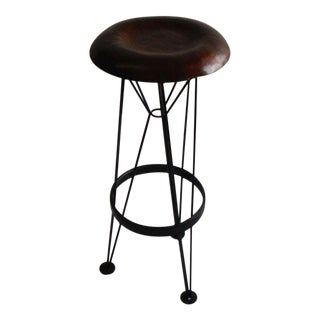 Hammered Steel Bar Stool For Sale