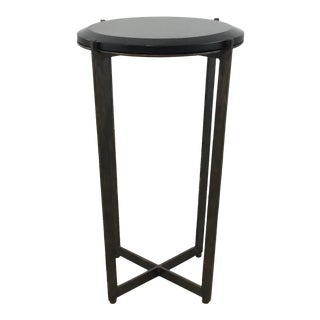Currey & Co. Industrial Modern Metal and Stone Accent Table For Sale