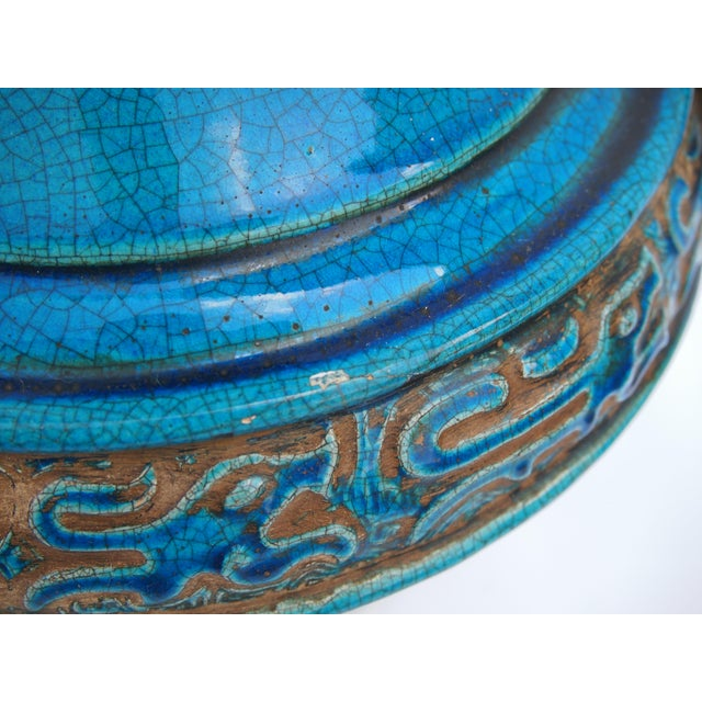 Pair of Italian Mid-Century Turquoise Glazed Lamps For Sale - Image 9 of 10