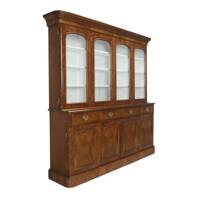 Antique English Burl Walnut Bookcase, Circa Late 1800s and Correctly Restored For Sale