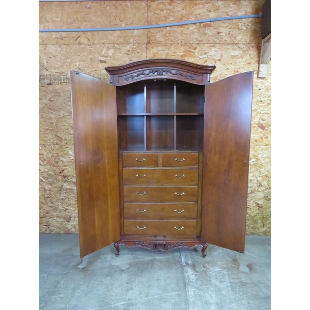 French Century Furniture French Style Cherrywood Armoire For Sale - Image 3 of 6