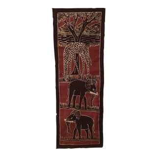 Vintage African Batik Art Wall Hanging For Sale