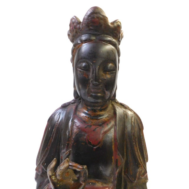 Red Black Lacquer Wood Sitting Kwan Yin Figure - Image 2 of 7