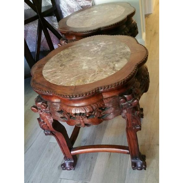 Wood & Marble Hand-carved End Tables - Pair - Image 2 of 6