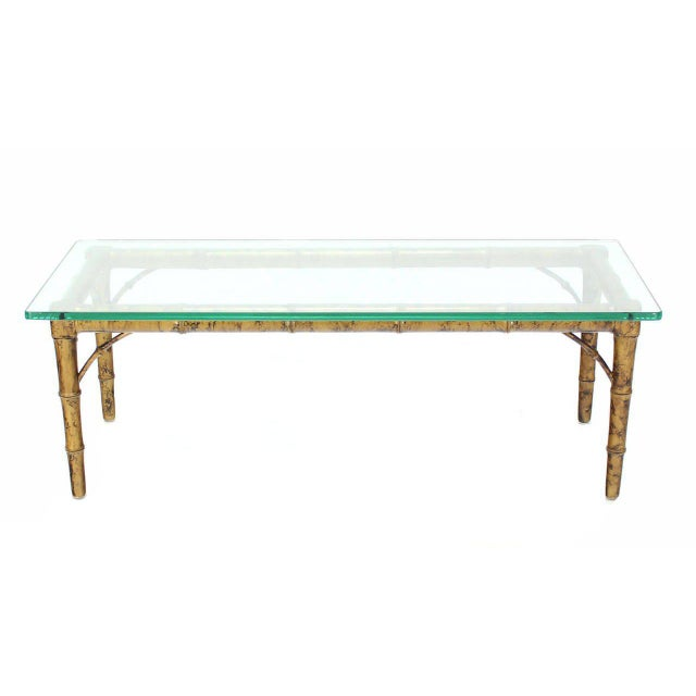 Lacquered Wood Faux Bamboo with Glass Top Rectangular Coffee Table For Sale In New York - Image 6 of 8