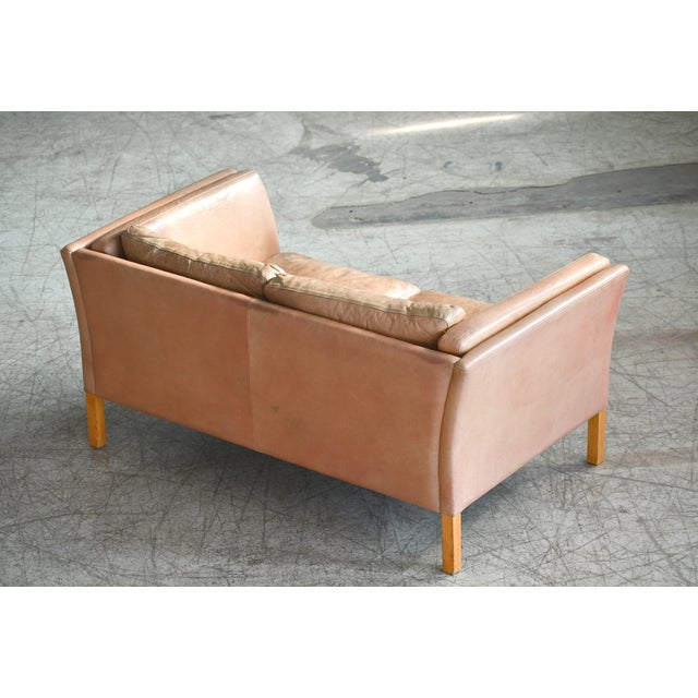 Leather Danish Loveseat in Butterscotch Worn Leather by Stouby Mobler For Sale - Image 7 of 12