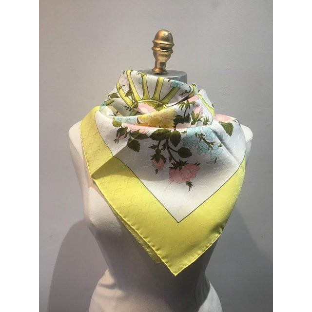 Hermès Hermes Vintage Romantique Silk Scarf in Yellow C1970s For Sale - Image 4 of 7