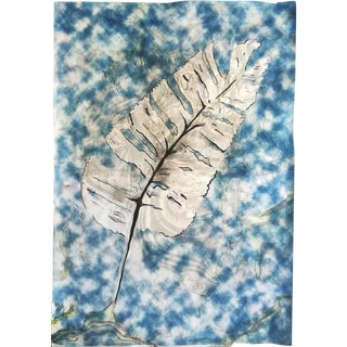 Traditional Cyanotype Leaf With a Handmade Pastel Palette Marbling Touch, 100c70 CM Unique Piece or Monotype in Blues For Sale