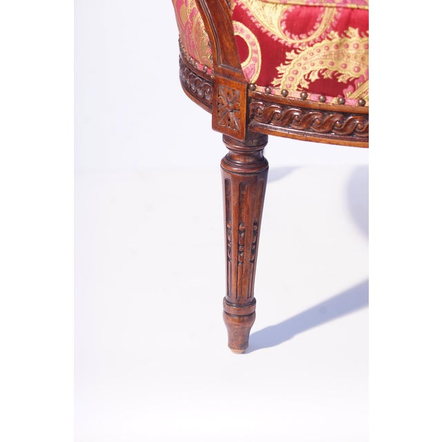 19th C. French Walnut Armchair For Sale - Image 4 of 6