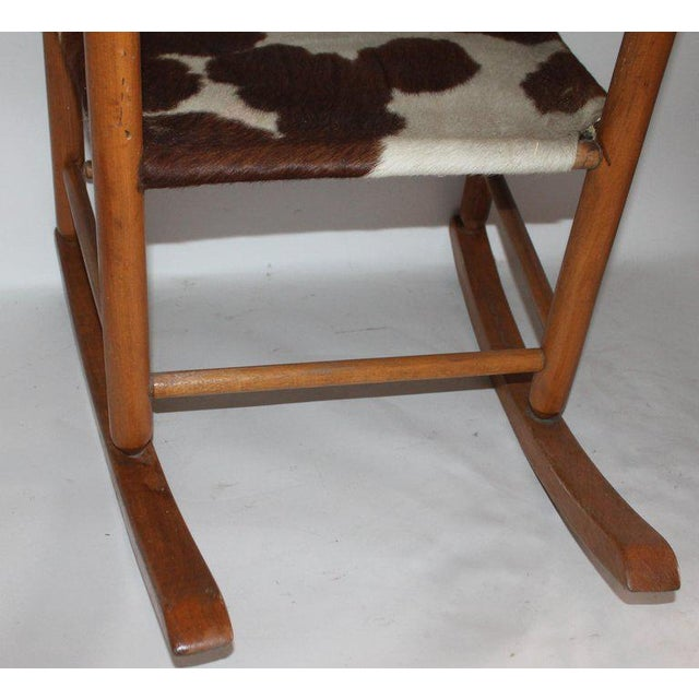 Mid 20th Century Early 20th Century South West Rocking Chair in Cowhide Seat For Sale - Image 5 of 12
