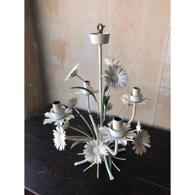 Vintage Tole Chandelier With Daisies For Sale - Image 4 of 10