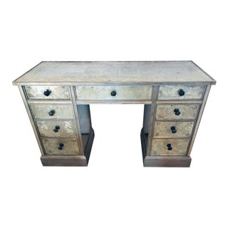 Art Deco Era Mirrored Reversed Paint Decorated Églomisé Desk or Vanity For Sale