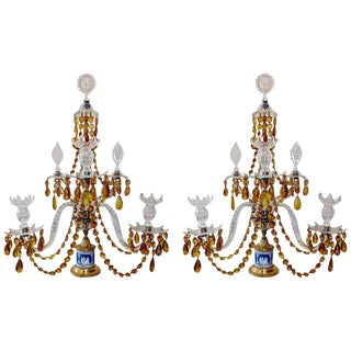 Pair of 19th Century Georgian Crystal and Wedgwood Candelabra For Sale