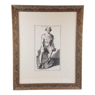 Mid 19th Century Antique Neoclassical Mercury Etching