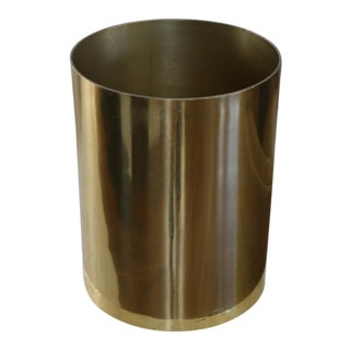 Vintage 1970s Cylindrical Brass Planter in the Style of Paul Mayen