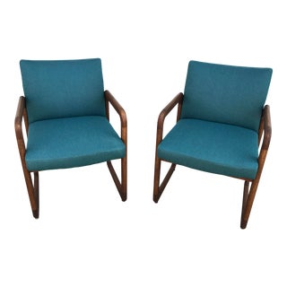 1970s Mid Century Modern Milo Baughman for Madison Sled Leg Chairs - a Pair