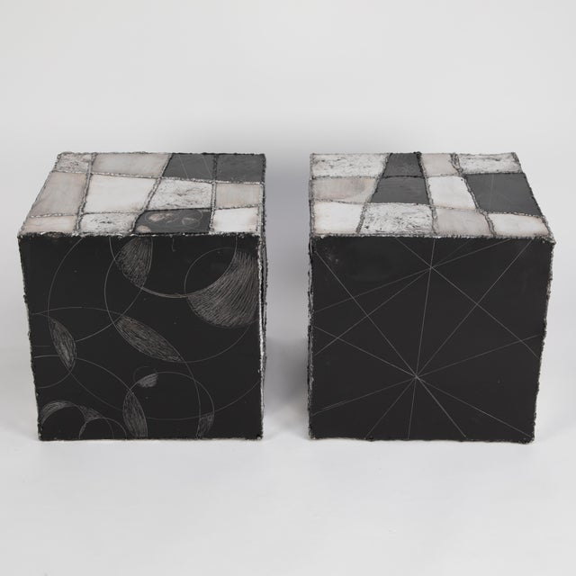 "Metal Rare Pair of Paul Evans ""Argente"" Side Tables, Circa 1960s For Sale - Image 7 of 13"