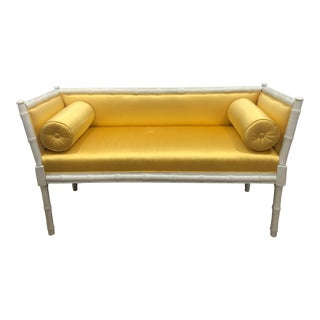 Vintage Mid-Century Faux Bamboo & Gold Satin Bench For Sale