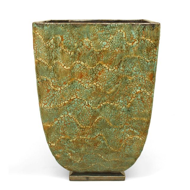 American post-war design large glazed ceramic green textured square tapered jardiniere resting a low square base designed...