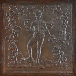 18th Century Antique French God Bacchus Cast Iron Fireback For Sale