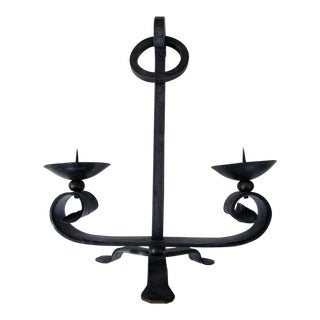 A Handsome Pair of English Arts & Crafts Wrought Iron 2-Arm Tripod Candelabras For Sale
