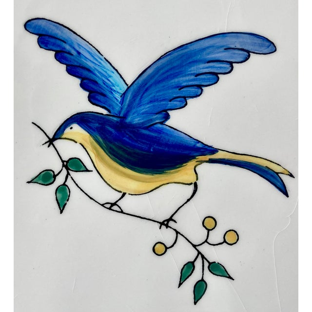 1980s 1980s Scalloped Border Hand Painted Bluebird Earthenware Platter Made in the Philippines For Sale - Image 5 of 12