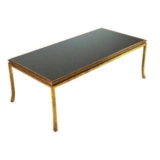 Maison Ramsay Gilt-Bronze and Black Opaline Glass Top Coffee Table For Sale